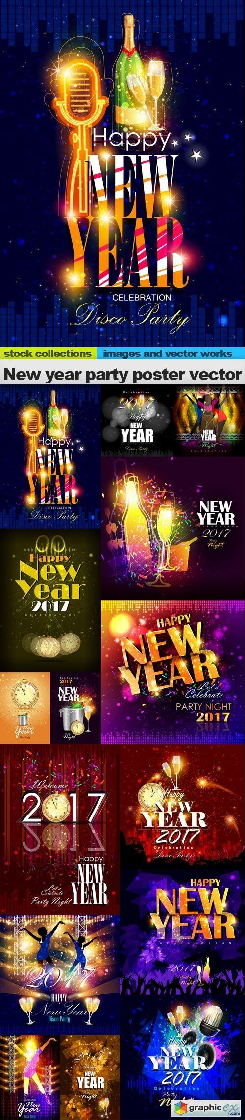 New year party poster vector, 15 x EPS