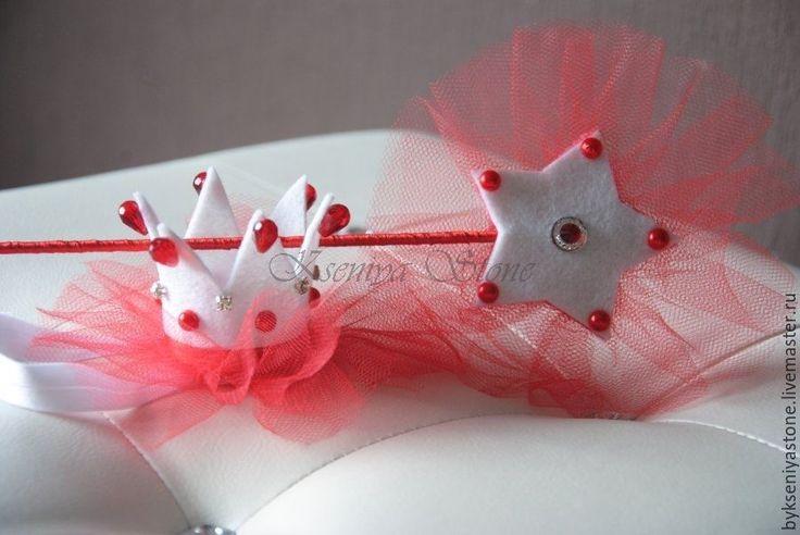 Купить Корона + волшебная палочка (красный) - корона, ободок корона, корона для девочки