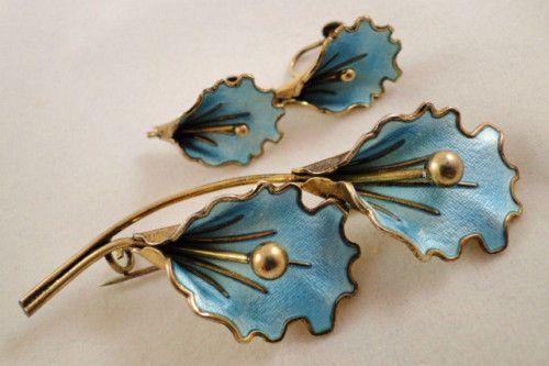 Aksel Holmsen Norway Sterling Orchid Brooch & Earrings Enamel 1968 Guilloche Set