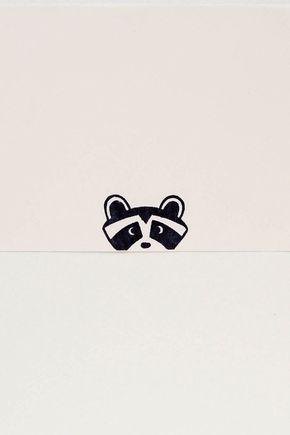 Funny raccoon stamp, raccoon kids gift, raccoon stamp, minimal raccoon, peekaboo raccoon, peery raccoon stamp, woodland creature – Nele Sturm