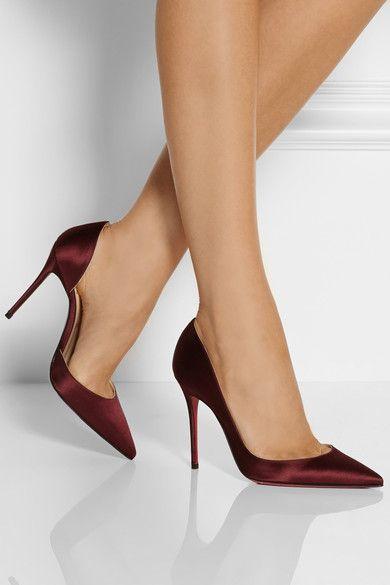 Covered heel measures approximately 100mm/ 4 inches Burgundy satin Slip on Come replacement heel tips Designer color: Lie de Vin