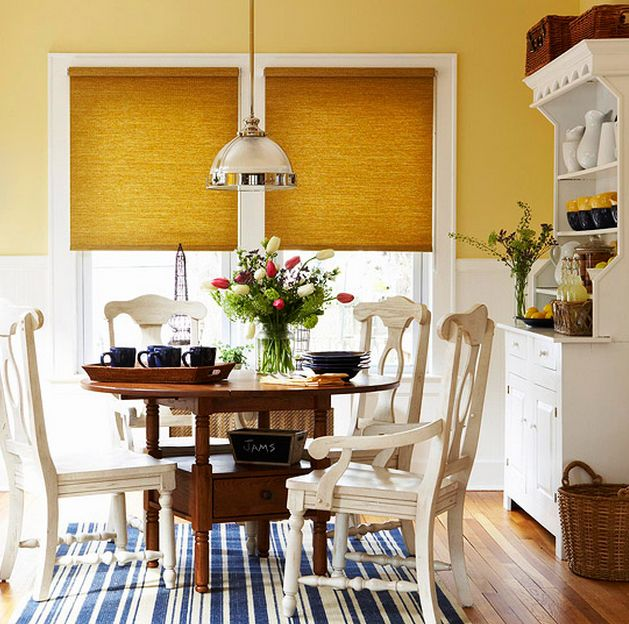 Yellow Cottage Dining Room With Blue Accents Stephen