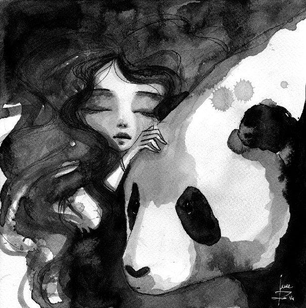 Panda et femme à lencre de chine par June Leeloo  Dessein de dessin