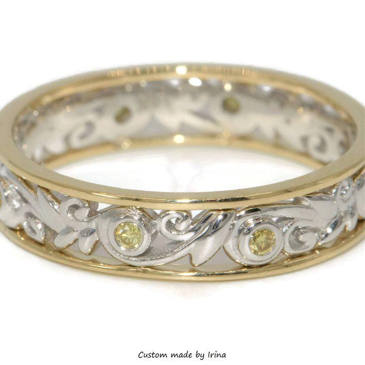Two tone Wedding Band, Yellow Diamond band, organic ring close to nature by BridalRings on Etsy https://www.etsy.com/listing/245014389/two-tone-wedding-band-yellow-diamond