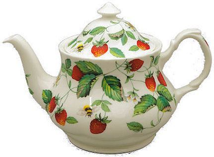 6C Alpine Strawberry English Bone China Teapot - Roses And Teacups