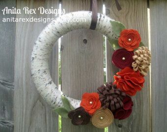 Fall Yarn Wreath Orange Yarn Wreath Yarn Wreath by AnitaRexDesigns