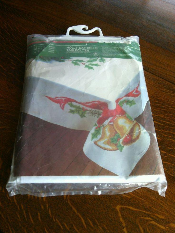 Tablecloth Kit 60'' x 90'' Stamped Cross Stitch Bernat Holly Day Bells Christmas | eBay