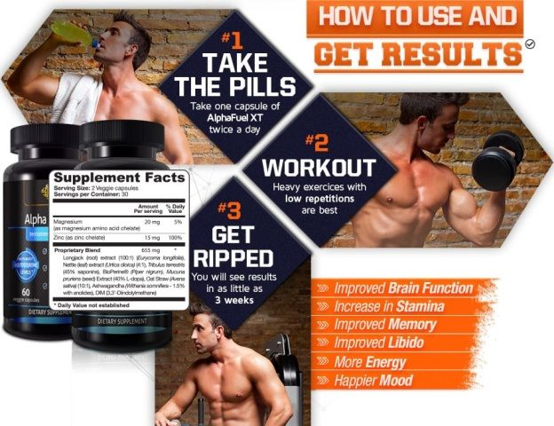 Alpha Fuel XT will not only boost your testosterone levels, but also get you a lean ripped body that you have wanted to have by boosting the body metabolism.