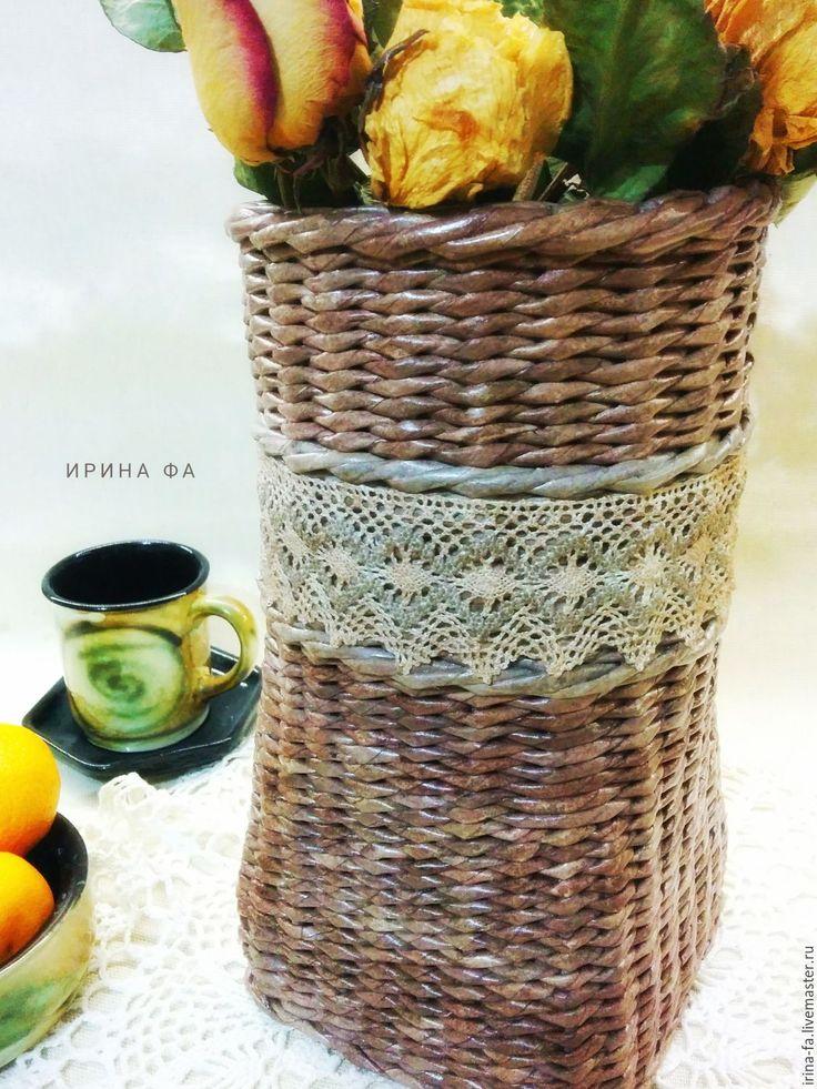 """Купить Ваза плетеная """"Кружевная"""" - коричневый, ваза, ваза для цветов, кашпо, плетеная ваза"""