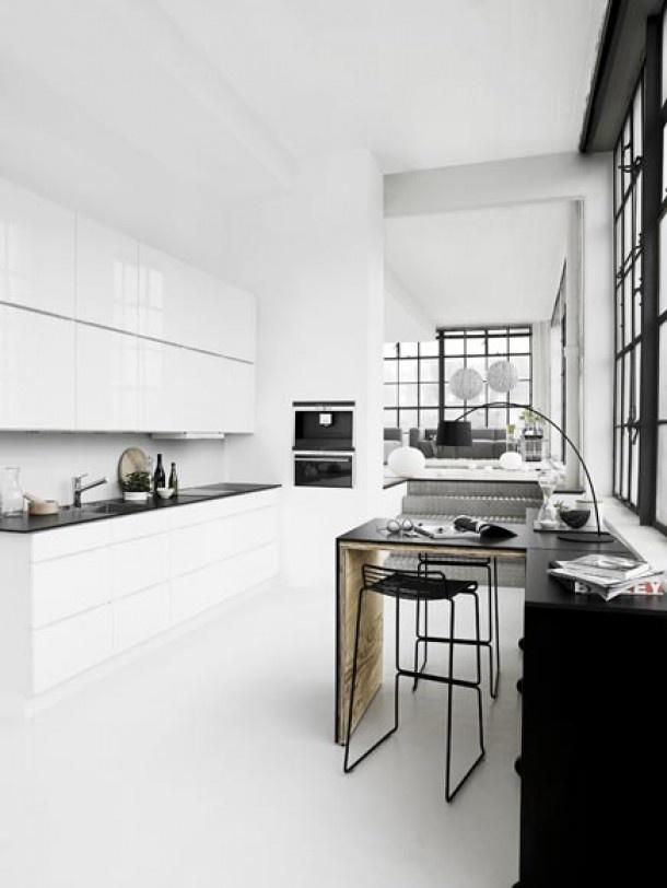 17  ideeën over zwart witte keukens op pinterest   donkere tellers ...