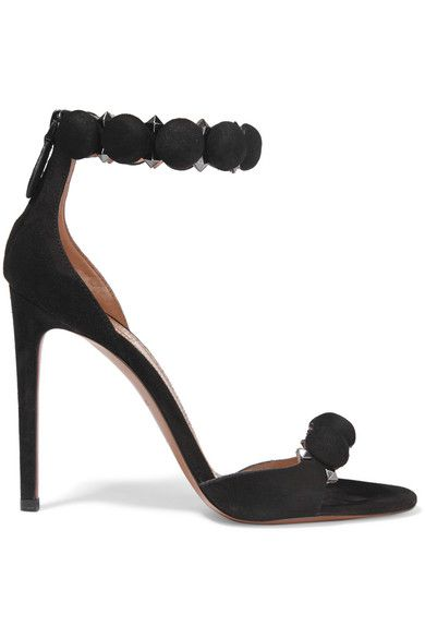Alaïa's sandals have been crafted in Italy from black suede and finished with button-like straps that mimic the label's signature laser-cut patterns. They're interspersed with polished gunmetal pyramid studs to add a hint of shine. Style yours with a cocktail dress or sharp tailoring.