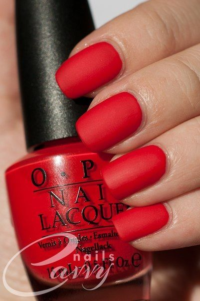 I am rocking almost these exact red nails right now, but with e.l.f's Smokin Hot nail polish and a matte top coat.