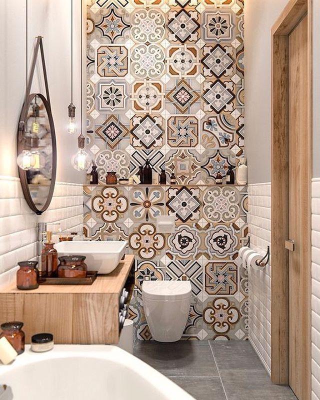 Sobre não ter maturidade para lidar com esse banheiro Ficamos encantadas com os mínimos detalhes • Projeto via Pinterest, autoria desconhecida.
