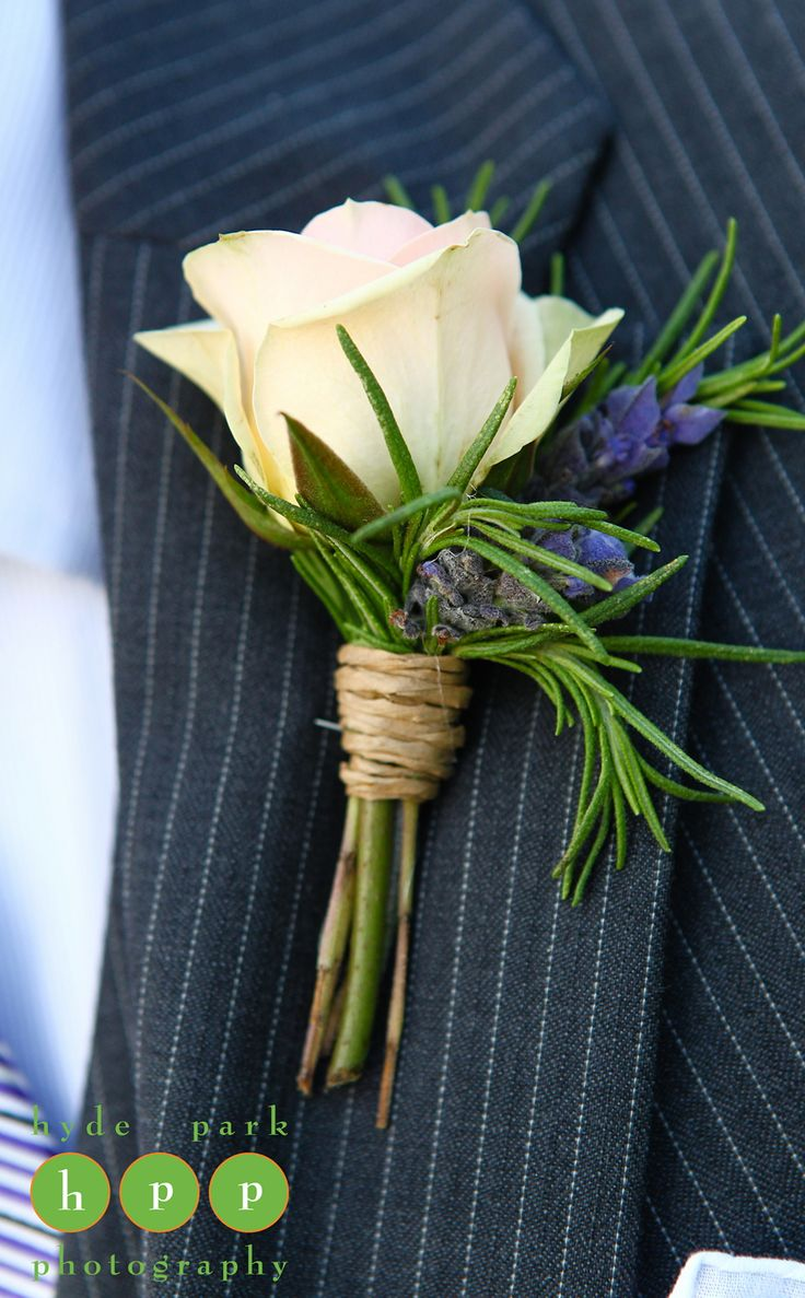 I like the aspect of the Rosemary in this boutonniere as well as the use of the twine to wrapped just part of the stem.