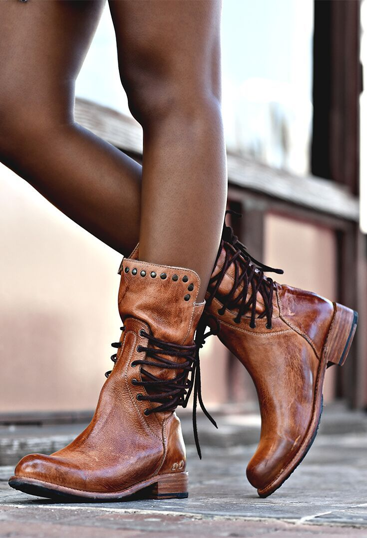 5ec89cd2def This handmade tan leather mid-calf boot by BEDSTU features side lacing and  stud detaining