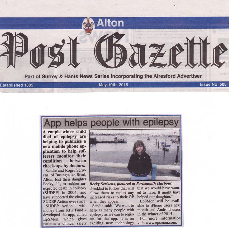 Roger and Sandie Scrivens raise awareness of EpSMon in the Alton Post Gazette
