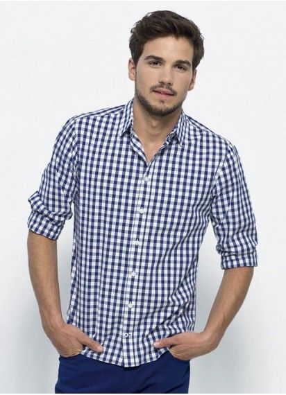 Check Mate men's checkered dress shirt in Blue & White. Work or play in style in this #fairtrade and #organiccotton premium tailored shirt. Made in Bangladesh.