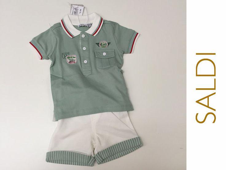 #SALDI Only per maschietti chic e pieni di vita, proprio come il tuo! Vieni a trovarci in negozio per i saldi sull'abbigliamento bambini. Troverai anche questo completino tg. 6 mesi scontato del 50% a soli € 14.95!