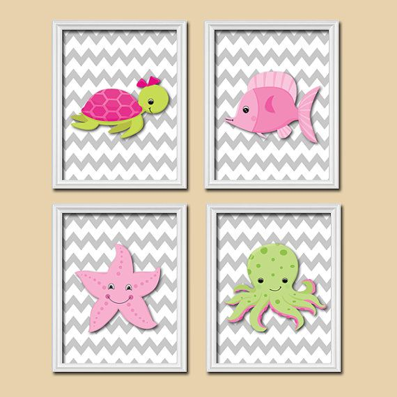 Nautical Girl Ocean Sea Pink Green Star Fish Turtle Cute Set of 4 Prints Wall Decor Art Child Bathroom Decor via Etsy