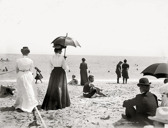 Holiday-makers on Margate Beach.