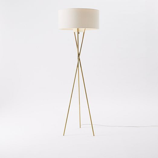 Mid Century Tripod Floor Lamp Antique Brass Let There