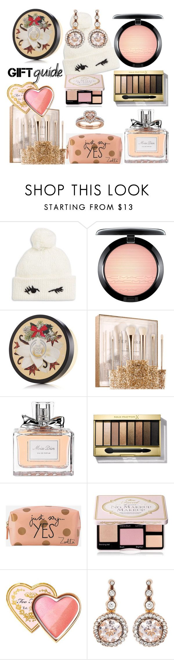 """Untitled #136"" by bellezza95 ❤ liked on Polyvore featuring Kate Spade, MAC Cosmetics, The Body Shop, Sephora Collection, Christian Dior, Max Factor, Zoella Beauty, Too Faced Cosmetics and Selim Mouzannar"