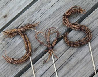 Custom Twig Letter Cake Toppers for Diana by littlecraftshoppe