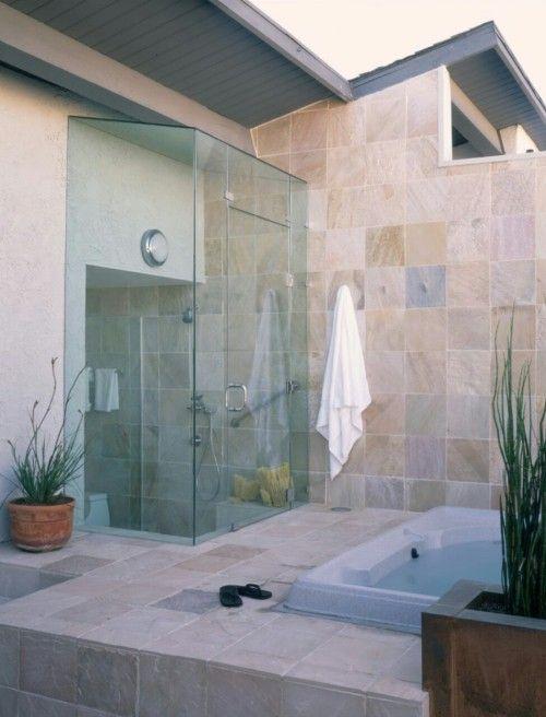 #architecture #design #interiors #modern #shower #tropical #luxury #outdoor shower #hot tub #uploads