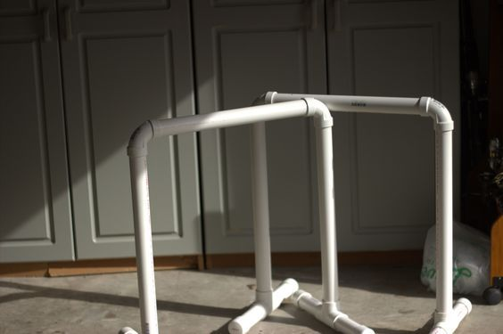 DIY dip station used for BodyRock workouts. Also known as equalizers or challenger bars. They are used for a variety of challenging exercises!