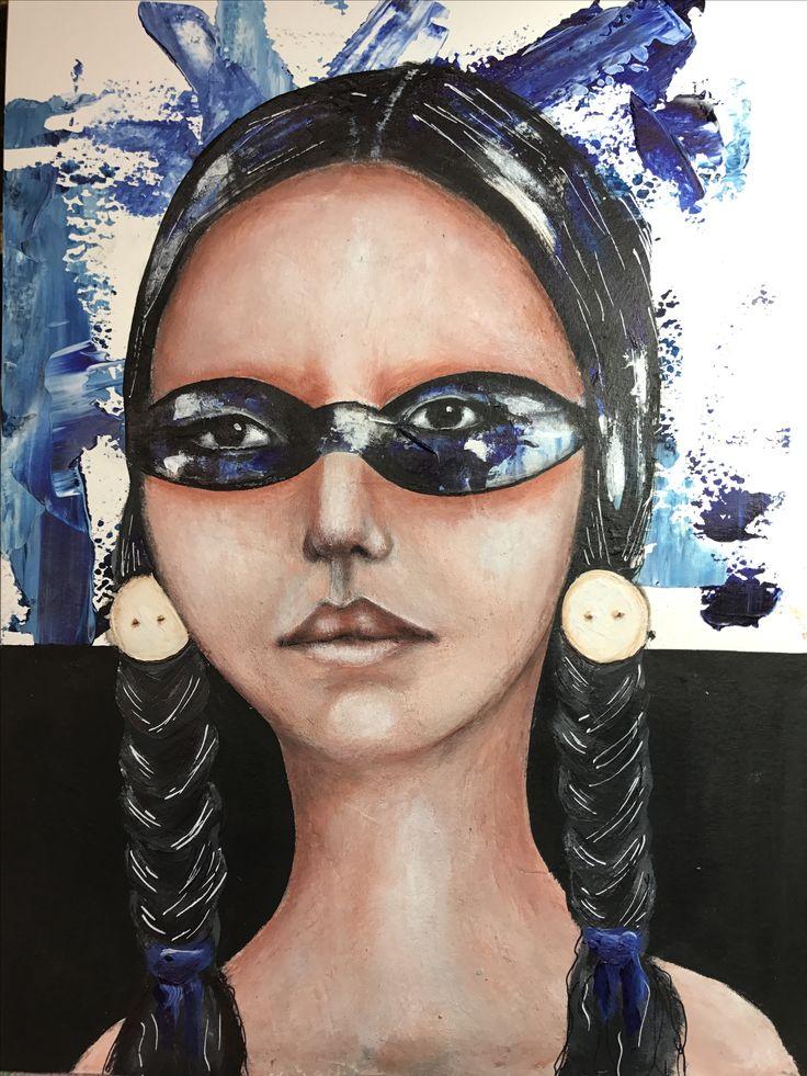 Talulah - mixed media by Jen Skinner