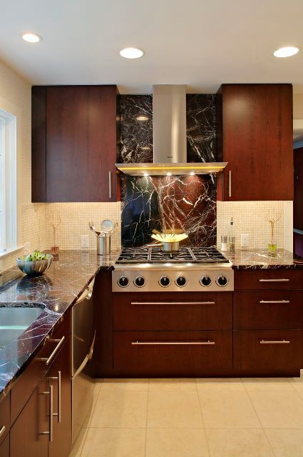 A Gorgeous Marble Slab Backsplash Is A Stunning Focal Point Looks