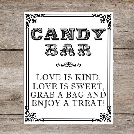 INSTANT DOWNLOAD - 8 x 10 Candy Bar Wedding sign - Love is Sweet  - Candy Buffet Dessert Table