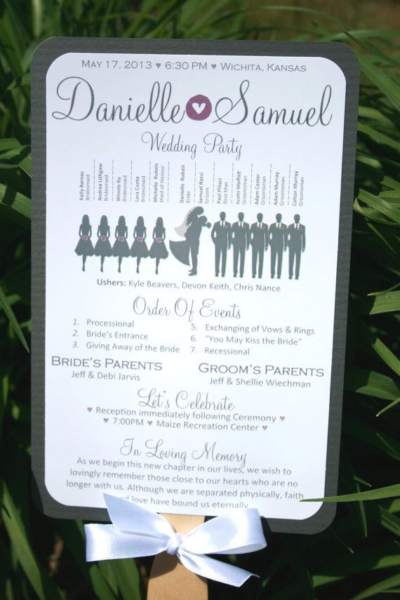 Diy Paddle Fan Wedding Program