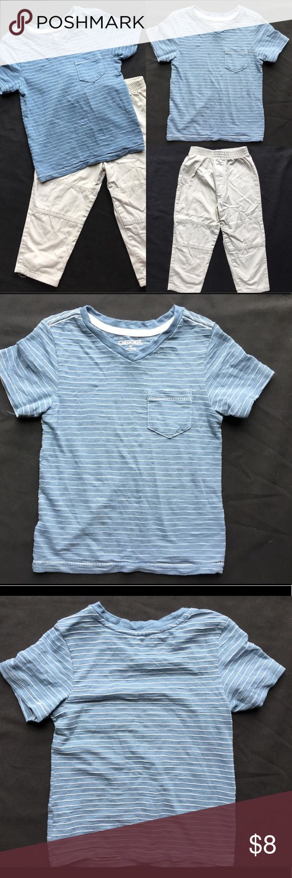 Boy's 3T V-Neck and Khaki Outfit Gently used boy's 3T outfit.  Cherokee slate blue and white striped v-neck t-shirt.  Okie Dokie khaki pants with an elastic waist.  Both items have wash wear but not stains or holes. Matching Sets