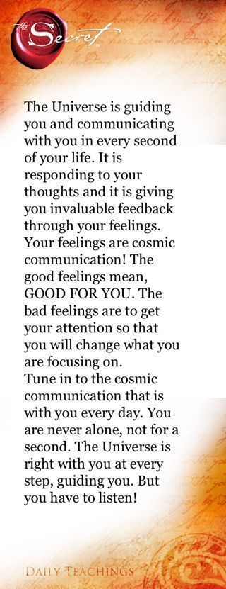 The universe guides and communicates with you – …