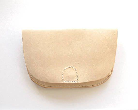 Minimalist Wallet  Nude VegTan Leather Magnetic Clasp Clean