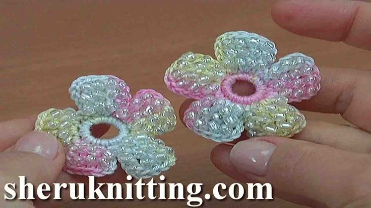 How to Make a Crochet Simple Flower With Beads Tutorial 157