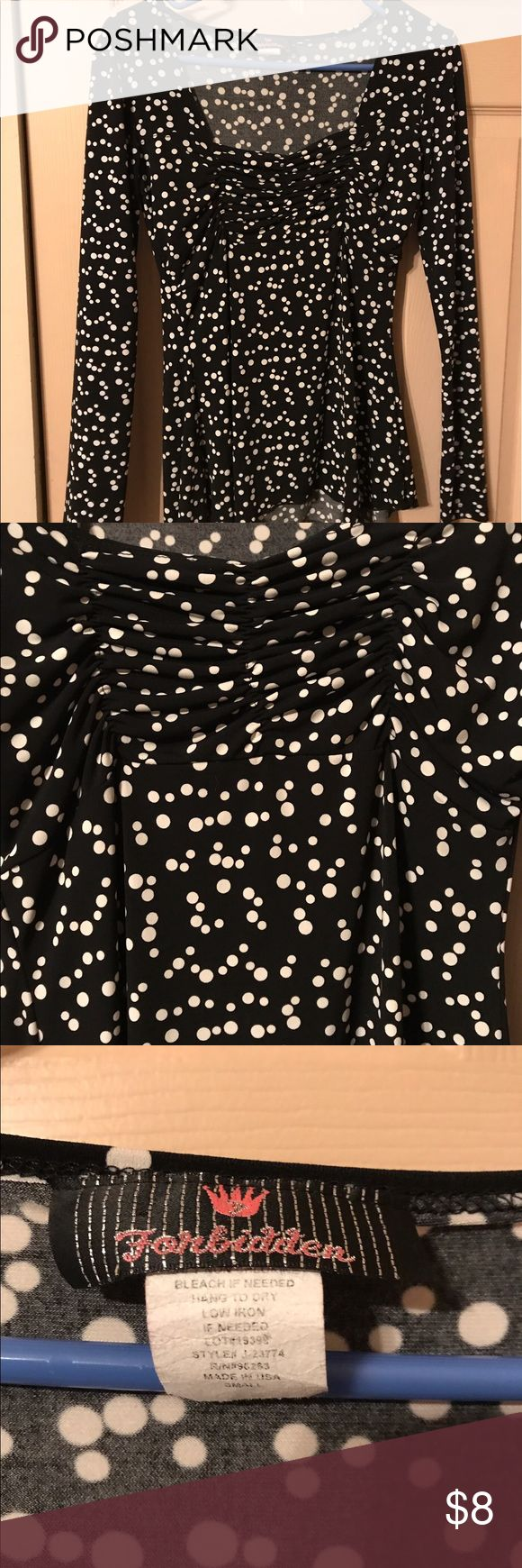 Black and white polka dot long sleeve Black and white polka dot Forbidden long sleeve dress shirt with ruching Tops Blouses