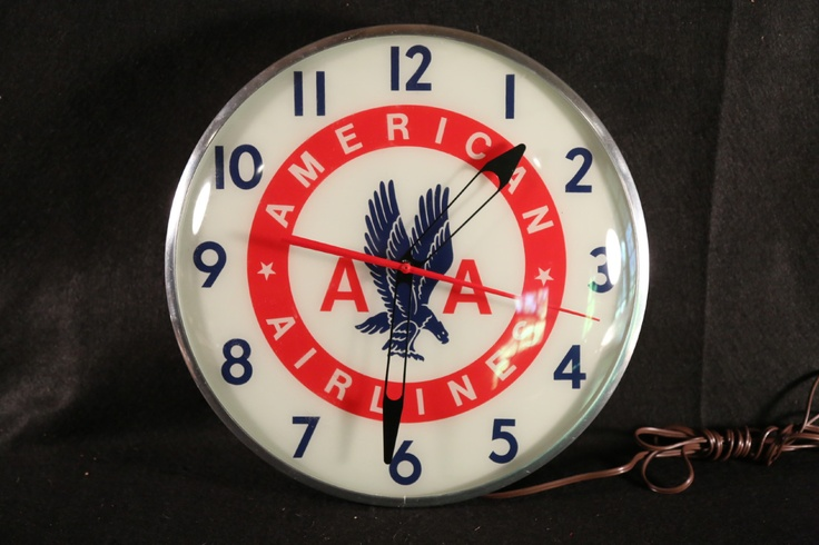American Airlines Clock (Circa 1950 Vintage AA Airline Advertising Clock, Old Antique Original Light Up Wall Clock)