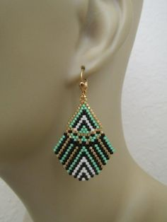 Incredibly Seed Bead Bead Woven Earrings Mint Green