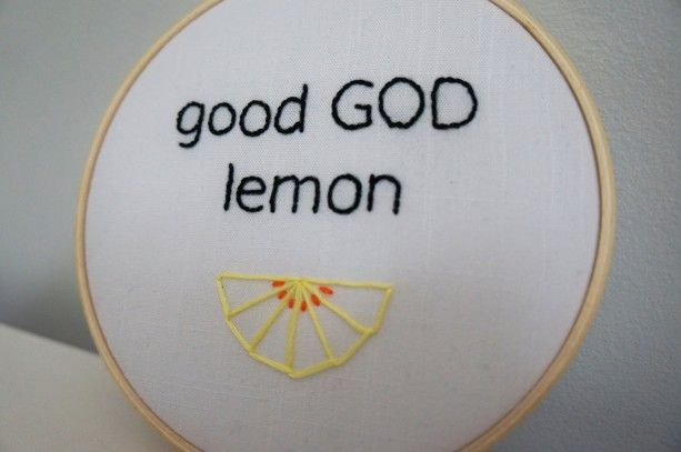 Good GOD Lemon, Jack Donaghy Quote, 30 Rock Quote, Liz Lemon Quote, Embroidery Hoop Art, Pop Culture Cross Stitch, TV Quote Art, Wall Art