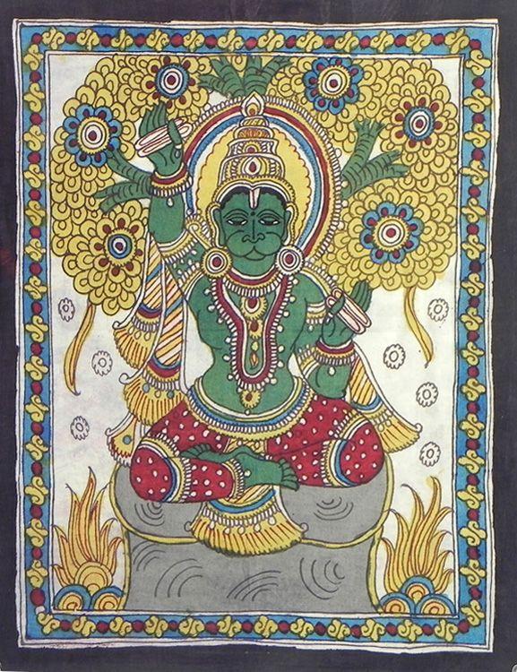 Hanumana Sings Ramnam (Kalamkari Paintings on Cotton - Unframed))