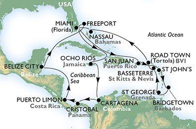 Estados Unidos, Puerto Rico, Antigua y Barbuda, Barbados, Granada, St. Kitts, Islas Vírgenes (Británicas), Bahamas, Jamaica, Colombia, Panamá, Costa Rica, Belice
