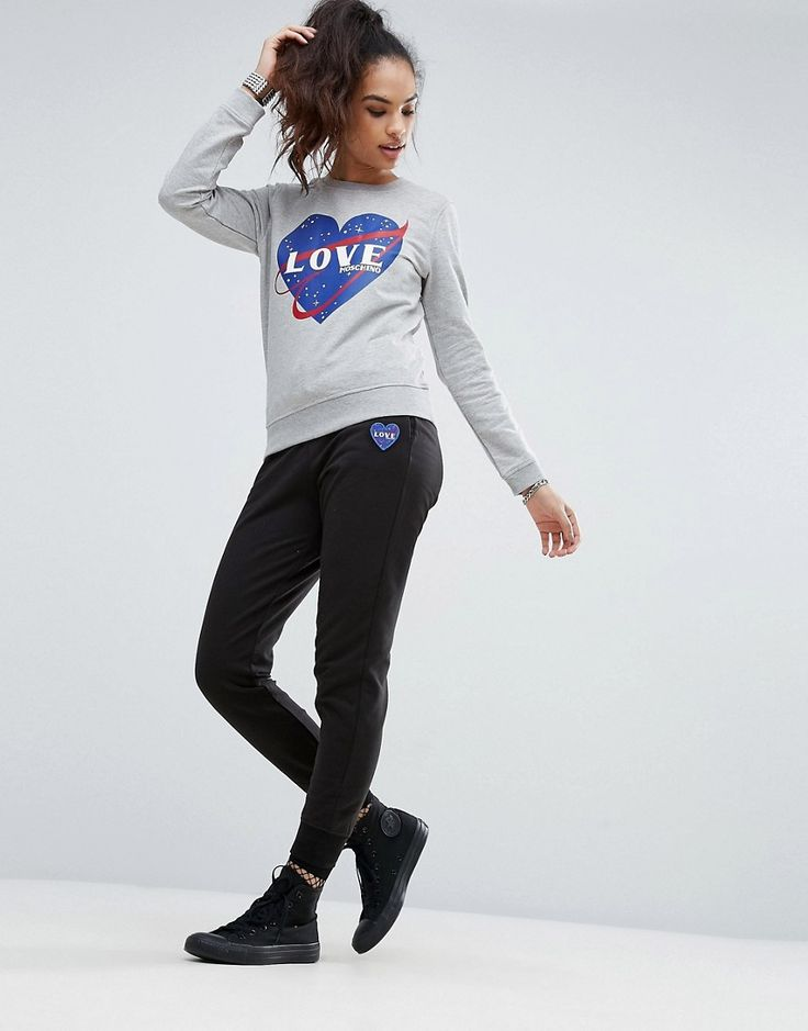 Buy it now. Love Moschino Spacestation Joggers - Black. Sweatpants by Love Moschino, Soft-touch sweat fabric, Drawstring waistband, Side pockets, Embroidered heart logo, Fitted cuffs, Slim fit - cut close to the body, Machine wash, 94% Cotton, 6% Spandex, Our model wears a UK 8/EU 36/US 4 and is 175cm/5'9 tall. A diffusion line of Franco Moschino's iconic Italian design house, Love Moschino creates a playful and irreverent collection injected with a sense of youthful cool. Witty prints and…
