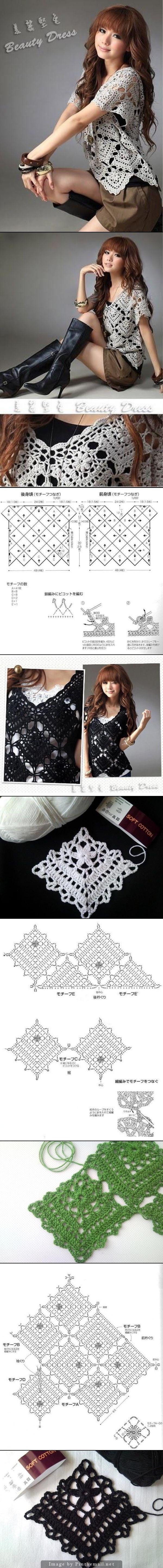 Crochet motif pullover - created via http://pinthemall.net
