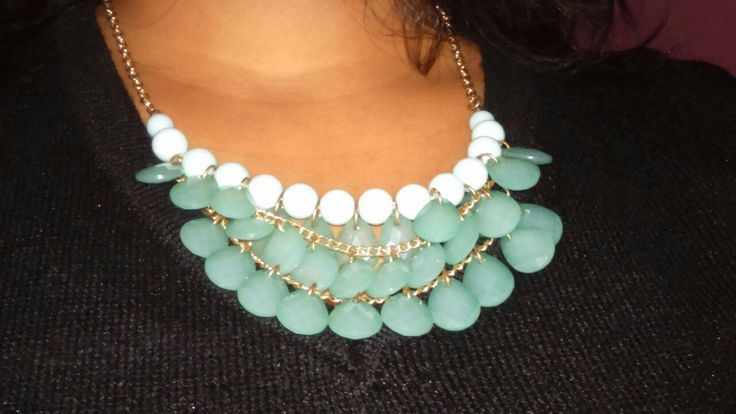 Trendy Necklace at Forever 21, Select City Mall  - Aqua blue trendy necklace styled up with black sweater
