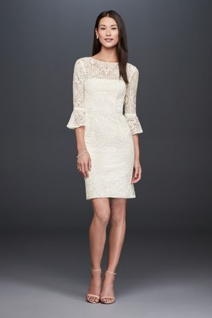 ... this short-and-sweet illusion lace sheath dress charms with 3 4-length  bell sleeves. Slim grosgrain trim details the waistline and sleeves. DB  Studi 407a80328e