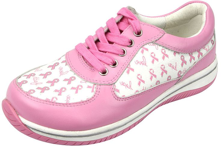 Cindi Pink Ribbon Power by Alegria!  The Cindi is designed specifically for health care workers and features a stain resistant upper along with a non-slip bottom. The padded tongue and laced closure allow for a more comfortable feel on your instep and a secure heel fit. Featuring a light weight flat bottom that makes it easy to walk on while encouraging proper posture and normal gait.