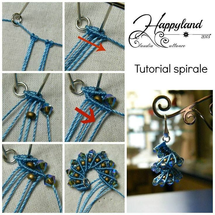 Ayşe'nin Nakış Dünyası: Di Happyland, Spirals, Micro Macramé, Beads Patterns, Diy Tutorials, Photo Tutorials, Micro Macrame, Beads Weaving, Macrame Earrings Tutorials