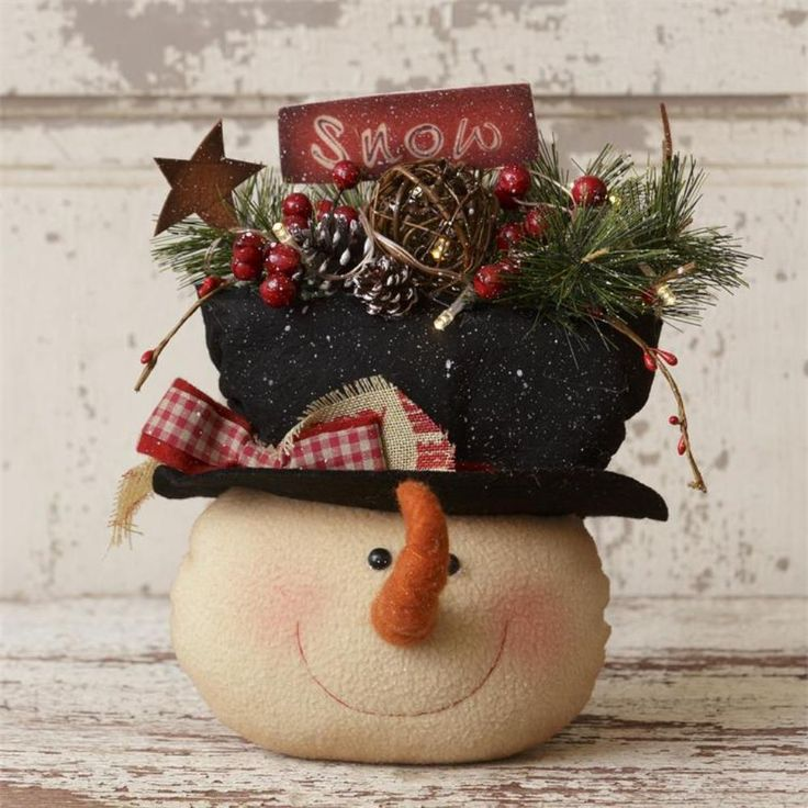 Primitive Country Snowman Head with Black Top Hat LED Lights Pine Bough Pinecone   Home & Garden, Holiday & Seasonal Décor, Christmas & Winter   eBay!